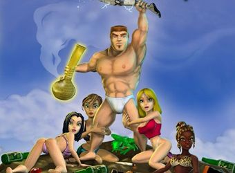 Parody adult game with fight action and cartoon sex